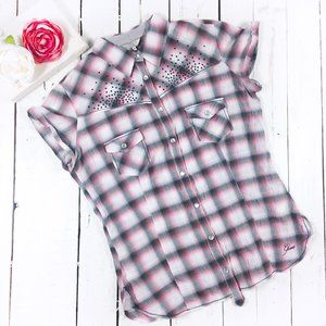 Guess Pearl Snap Front Western Beaded Plaid Top